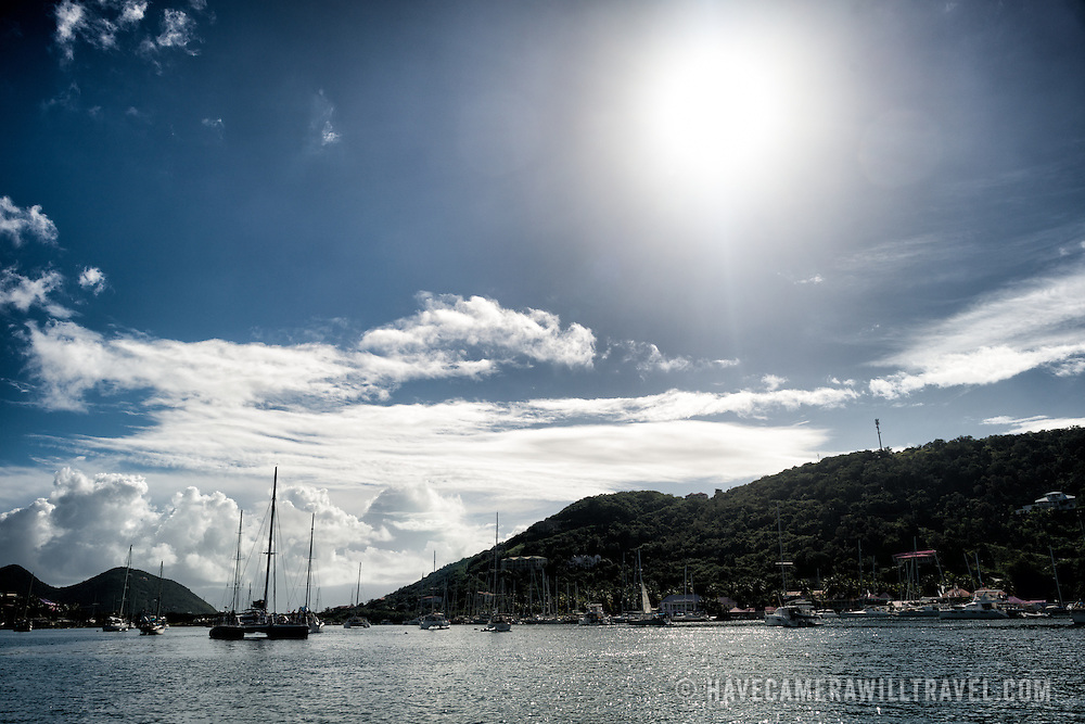 West End Harbor on Tortola (left) in the British Virgin Islands, with Frenchman's Cay on the right.