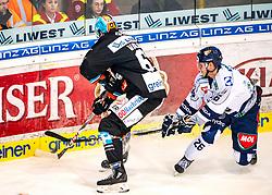 05.01.2020, Keine Sorgen Eisarena, Linz, AUT, EBEL, EHC Liwest Black Wings Linz vs Fehervar AV 19, 36. Runde, im Bild v.l. Juraj Valach (EHC Liwest Black Wings Linz), Donat Szita (Hydro Fehervar AV 19) // during the Erste Bank Eishockey League 36th round match between EHC Liwest Black Wings Linz and Fehervar AV 19 at the Keine Sorgen Eisarena in Linz, Austria on 2020/01/05. EXPA Pictures © 2020, PhotoCredit: EXPA/ Reinhard Eisenbauer