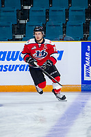 KAMLOOPS, CANADA - NOVEMBER 5:  Jordy Bellerive #15 of Team WHL (Lethbridge Hurricanes) warms up against the Team Russia on November 5, 2018 at Sandman Centre in Kamloops, British Columbia, Canada.  (Photo by Marissa Baecker/Shoot the Breeze)