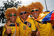 Colombia fans gather before the 2014 FIFA World Cup last 16 match at Maracana Stadium, Rio de Janeiro, Brazil.<br /> Picture by Andrew Tobin/Focus Images Ltd +44 7710 761829<br /> 28/06/2014