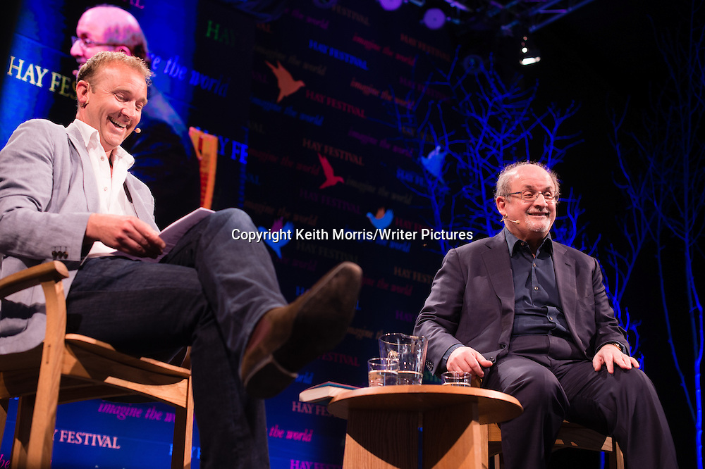Salman Rushdie interviewed by Jerry Brotton at The Hay Festival of Literature and the Arts, May 30  2016<br /> <br /> Picture by Keith Morris/Writer Pictures