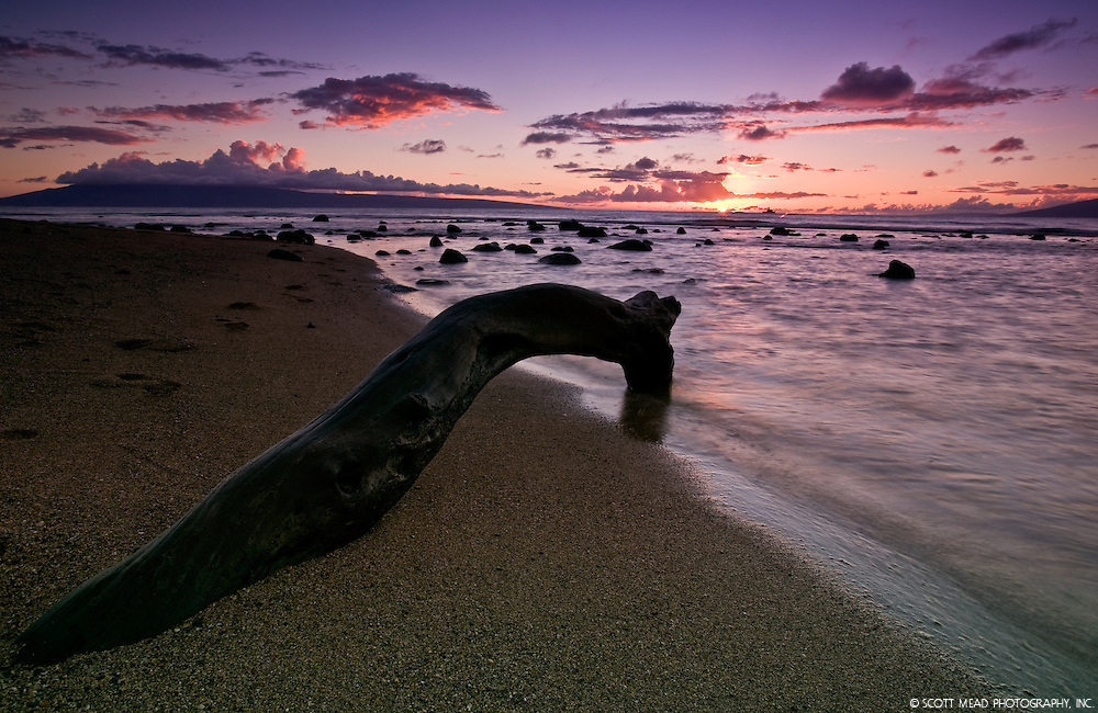 Rocks on sand beach at coastline of ocean at sunset in Kahana, Maui, Hawaii