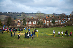 © Licensed to London News Pictures. 06/03/2016. Dorking, UK. A view of the course. Competitors take part in the 2016 Wife Carrying Race in Dorking, Surrey.  The race, which is run over a course of 380m, with both men and women carry a 'wife' over obstacles,  is believed to have originated in the UK over twelve centuries ago when Viking raiders rampaged into the northeast coast of  England carrying off any unwilling local women .  Photo credit: Ben Cawthra/LNP