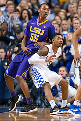 Kentucky guard Tyler Ulis, right, didn't back down from a mis-match with LSU guard Tim Quarterman in the first half. <br /> <br /> The University of Kentucky hosted the LSU Tigers, Saturday, March 05, 2016 at Rupp Arena in Lexington .