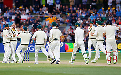 England's Joe Root reviews an LBW decision off the bowling of Nathan Lyon during day four of the Ashes Test match at the Adelaide Oval, Adelaide.