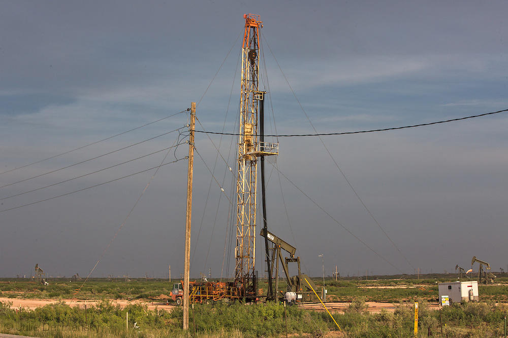 Fracking site in Eddy County New Mexico . Eddy County's oil patch in the Permian Basin is experiencing an oil boom due to the fracking industry.