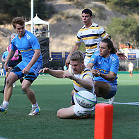 BERKELEY, CA - NOVEMBER 08:  Jesse Milne #12 of California is stopped just short of the try during the PAC Rugby 7's Championship between UCLA and California at Witter Rugby Field at the University of California on November 8, 2015 in Berkeley, California. California won the match by a score of 17-5. (Photo by Alex Menendez/Getty Images) *** Local Caption *** Jesse Milne