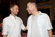 STUART COMER; WOLFGANG TILLMANS, Tate Britain Summer party. Tate. Millbank. 27 June 2011. <br /> <br />  , -DO NOT ARCHIVE-© Copyright Photograph by Dafydd Jones. 248 Clapham Rd. London SW9 0PZ. Tel 0207 820 0771. www.dafjones.com.