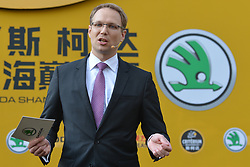 October 28, 2017 - Shanghai, China - Ralf HANSCHEN, the President of Skoda China, the President of SSO (Amaury Sport Organisation), during the 1st TDF Shanghai Criterium 2017 - Media Day..On Saturday, 28 October 2017, in Shanghai, China. (Credit Image: © Artur Widak/NurPhoto via ZUMA Press)