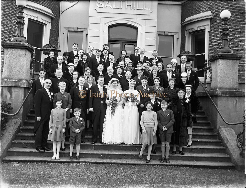 18/02/1957<br /> 02/18/1957<br /> 18 February 1957<br /> Wedding Dr K. Murphy and J. Fitzgerald at St. Mary's Church, Haddington Road and reception at Salthill Hotel, Monkstown. Wedding party and guests outside the hotel.