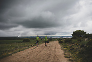 Michael and Daniel, brothers from New York State, walk toward their destination for the day, the city of Burgos. (June 11, 2018)<br /> <br /> DAY 15: SAN JUAN DE ORTEGA TO BURGOS - 26 KM
