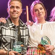 NLD/Amsterdam/20190208- 100% NL Awards  2019, Andre Hazes wint de award voor beste Live act en Maan de Steenwinkel