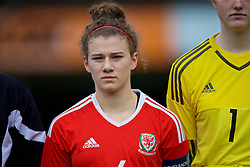 MERTHYR, WALES - Thursday, February 16, 2017: Wales' Captain Bronwen Thomas lines-up for the anthems ahead of the Women's Under-17's International Friendly match against Hungary at Penydarren Park. (Pic by Laura Malkin/Propaganda)