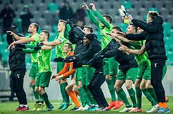 Players of Olimpija celebrate after winning during football match between NK Olimpija Ljubljana and NK Celje in Round #19 of Prva liga Telekom Slovenije 2016/17, on November 30, 2016 in SRC Stozice, Ljubljana Slovenia. Photo by Vid Ponikvar / Sportida