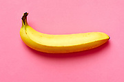 Close up of a ripe banana isolated on fuscia background.