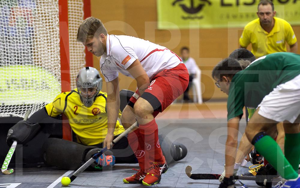 2017 EuroHockey Indoor Junior Championship (M)<br /> 13 Suisse - Portugal<br /> Foto: Yves Morard assist for Lars (Gk) Kleikemper defending.<br /> FFU PRESS AGENCY COPYRIGHT FRANK UIJLENBROEK
