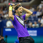 2019 US Open Tennis Tournament- Day Nine.  Grigor Dimitrov of Bulgaria celebrates his victory against Roger Federer of Switzerland in the Men's Singles Quarter-Finals match on Arthur Ashe Stadium during the 2019 US Open Tennis Tournament at the USTA Billie Jean King National Tennis Center on September 3rd, 2019 in Flushing, Queens, New York City.  (Photo by Tim Clayton/Corbis via Getty Images)