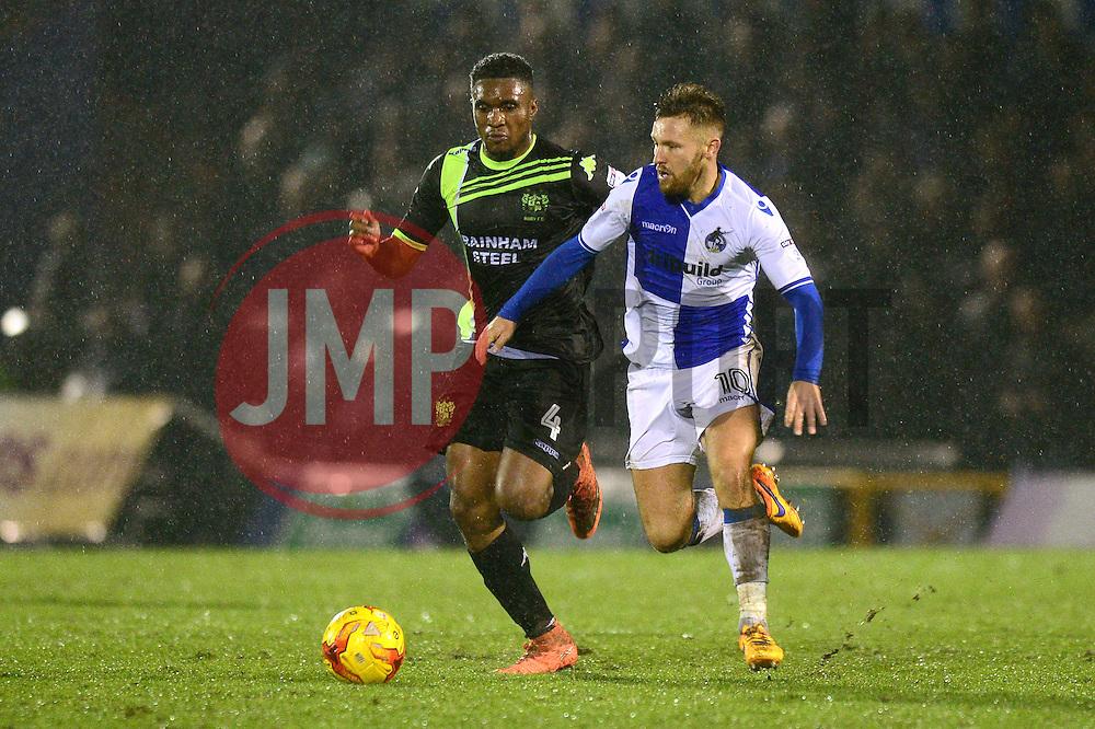 Matt Taylor of Bristol Rovers is closed down by Kelvin Etuhu of Bury - Mandatory by-line: Dougie Allward/JMP - 10/12/2016 - FOOTBALL - Memorial Stadium - Bristol, England - Bristol Rovers v Bury - Sky Bet League One