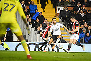 Fulham Defender Ryan Fredericks (2) and Sheffield United Defender Enda Stevens (3) in action during the EFL Sky Bet Championship match between Fulham and Sheffield United at Craven Cottage, London, England on 6 March 2018. Picture by Stephen Wright.