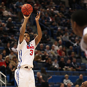 Sterling Brown, SMU, shoots during the Temple Vs SMU Semi Final game at the American Athletic Conference Men's College Basketball Championships 2015 at the XL Center, Hartford, Connecticut, USA. 14th March 2015. Photo Tim Clayton