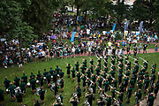 AUGUST 26, 2018  ATHENS, OHIO:<br /> Members of of the Ohio University Marching 110 played for the crowd on College Green after marching with the new incoming freshman class from the Convocation Center to the College recruitment tables set up one College Green ring the freshman orientation on August 26, 2018 in Athens, Ohio.