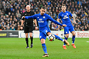 Joe Bennett (3) of Cardiff City during the The FA Cup 4th round match between Cardiff City and Manchester City at the Cardiff City Stadium, Cardiff, Wales on 28 January 2018. Photo by Graham Hunt.