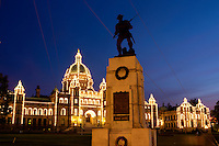 Parliament Building and War Monument at Night, Victoria, B.C.