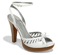 high heel white leather guess shoe