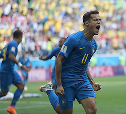 SAINT PETERSBURG, June 22, 2018  Philippe Coutinho of Brazil celebrates scoring during the 2018 FIFA World Cup Group E match between Brazil and Costa Rica in Saint Petersburg, Russia, June 22, 2018. (Credit Image: © Cao Can/Xinhua via ZUMA Wire)