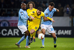 February 14, 2019 - MalmÅ, Sweden - 190214 Eden Hazard fights for the ball with Fouad Bachirou and Andreas Vindheim of MalmÅ¡ FF during the Europa league match between MalmÅ¡ FF and Chelsea on February 14, 2019 in MalmÅ¡..Photo: Ludvig Thunman / BILDBYRN / kod LT / 92225 (Credit Image: © Ludvig Thunman/Bildbyran via ZUMA Press)