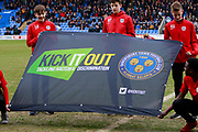 Kick it Out banner during the EFL Sky Bet League 1 match between Shrewsbury Town and Walsall at Greenhous Meadow, Shrewsbury, England on 10 March 2018. Picture by Graham Holt.