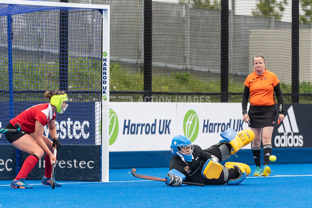 Holcombe's Rose Thomas can't stop a Surbiton penalty corner. Holcombe v Surbiton - Investec Women's Hockey League Final, Lee Valley Hockey & Tennis Centre, London, UK on 29 April 2018. Photo: Simon Parker
