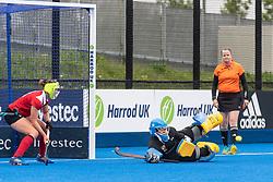 Holcombe's Rose Thomas can't stop a Surbiton penalty corner. Holcombe v Surbiton - Investec Women's Hockey League Final, Lee Valley Hockey & Tennis Centre, London, UK on 29 April 2018. Photo: Simon Parker