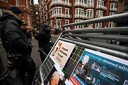 © Licensed to London News Pictures. 13/02/2018. London, UK. Member son the media gather outside the Embassy of Ecuador in London following a court ruling on his arrest warrant of WikiLeaks founder Julian Assange. The Australian and Ecuadoran national skipped bail to enter the embassy in 2012 in order to avoid extradition to Sweden over allegations of sexual assault and rape, which he denies. Photo credit: Ben Cawthra/LNP