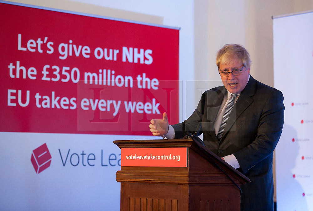 © Licensed to London News Pictures.14/05/2016. Bristol, UK.  BORIS JOHNSON in Bristol with the Vote Leave campaign to give a talk with Liam Fox MP at Armada House in Bristol city centre in support of the UK leaving the EU. Photo credit : Simon Chapman/LNP