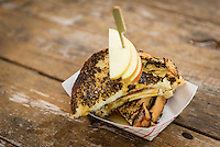 A apple and maple syrup grilled cheese sandwich from the Brickworks farmers market in Toronto, Ontario.