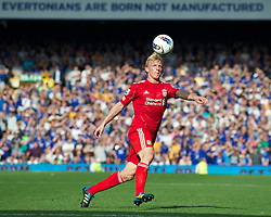 LIVERPOOL, ENGLAND - Saturday, October 1, 2011: Liverpool's Dirk Kuyt in action against Everton during the Premiership match at Goodison Park. (Pic by David Rawcliffe/Propaganda)
