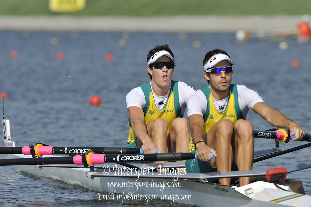 Brest, Belarus.  AUS LM2X, competing in the Semi Finals at the 2010. FISA U23 Championships. Saturday,  24/07/2010.  [Mandatory Credit Peter Spurrier/ Intersport Images]