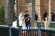 His highness prince Pieter-Christiaan of Oranje Nassau, of Vollenhoven and Ms drs. A.T. van Eijk get married  in the Great or St Jeroens Church in Noordwijk. <br /> <br /> <br /> Zijne Hoogheid Prins Pieter-Christiaan van Oranje-Nassau, van Vollenhoven en mevrouw drs. A.T. van Eijk treden in het (kerkelijk) huwelijk in de Grote St. Jeroenskerk in Noordwijk<br /> <br /> On the photo/Op de foto:<br /> <br /> <br /> <br /> Zijne Hoogheid Prins Pieter-Christiaan van Oranje Nassau, van Vollenhoven  Anita  van Eijk verlaten de kerk.<br /> <br /> His highness prince Pieter-Christiaan of oranje nassau, of Vollenhoven Anita van Eijk leaves the church.