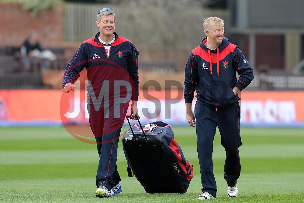 Lancashire's Head Coach Ashley Giles and Coach Glen Chapple share a joke. - Photo mandatory by-line: Harry Trump/JMP - Mobile: 07966 386802 - 07/04/15 - SPORT - CRICKET - Pre Season - Somerset v Lancashire - Day 1 - The County Ground, Taunton, England.