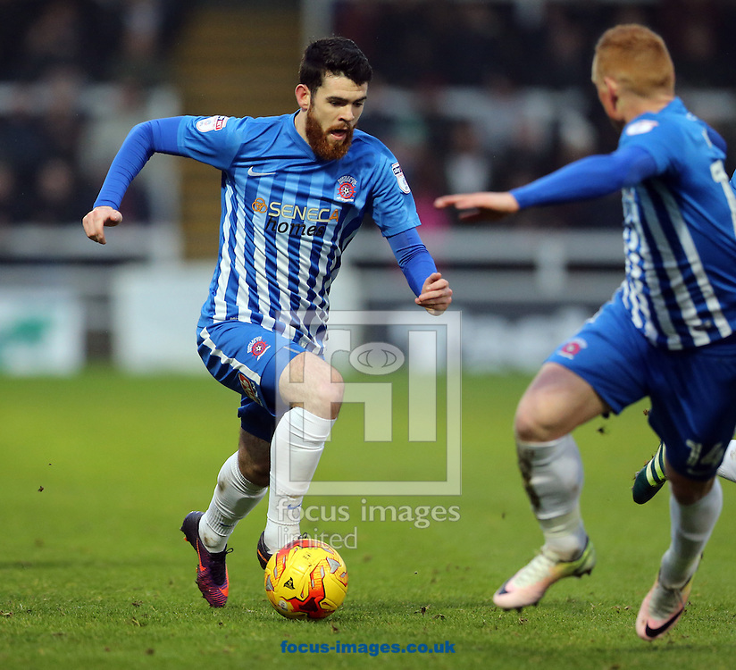 Liam Donnelly (l) of Hartlepool United during the Sky Bet League 2 match at Victoria Park, Hartlepool<br /> Picture by Simon Moore/Focus Images Ltd 07807 671782<br /> 21/01/2017