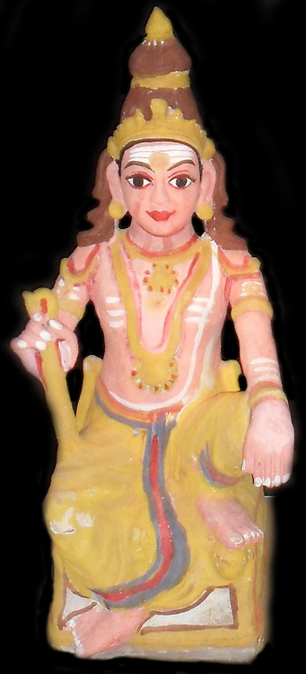 The Hindu god Shiva  represented in a small statuette figure, from early 20th Century India.