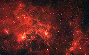 The nebula nicknamed 'the Dragonfish.' This turbulent region, jam-packed with stars, is home to some of the most luminous massive stars in our Milky Way galaxy. It is located approximately 30,000 light-years away in the Crux constellation. Spitzer.