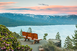 """Sunset at Lake Tahoe 36"" - These Manzanita flowers and bench were photographed at sunset near the  Stateline fire lookout in Crystal Bay, Lake Tahoe."