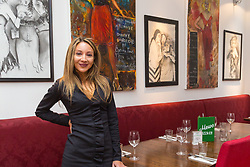Artist Anna Mazzotta at Mews of Mayfair where she is exhibiting her paintings and drawings in an exhibition entitled Pure Decadance. London, May 02 2019.