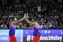 Murat Giginoglu and Safa Urlu of Turkey celebrate at Ljubljana Beach Volley 2017, on July 22, 2017 in Ljubljana, Slovenia. Photo by Morgan Kristan / Sportida