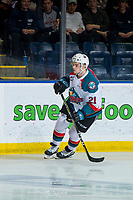 KELOWNA, CANADA - JANUARY 30: Schael Higson #21 of the Kelowna Rockets skates against the Seattle Thunderbirds  on January 30, 2019 at Prospera Place in Kelowna, British Columbia, Canada.  (Photo by Marissa Baecker/Shoot the Breeze)