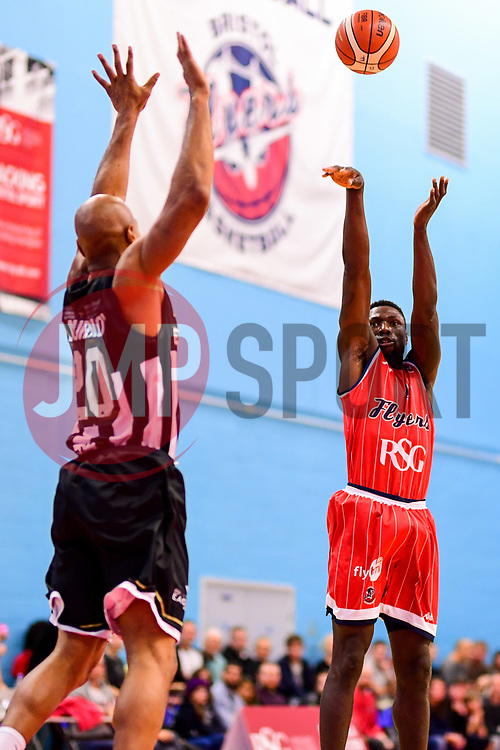 Daniel Edozie of Bristol Flyers is marked by Fabulous Flournoy of Newcastle Eagles - Photo mandatory by-line: Ryan Hiscott/JMP - 03/11/2018 - BASKETBALL - SGS Wise Arena - Bristol, England - Bristol Flyers v Newcastle Eagles - British Basketball League Championship