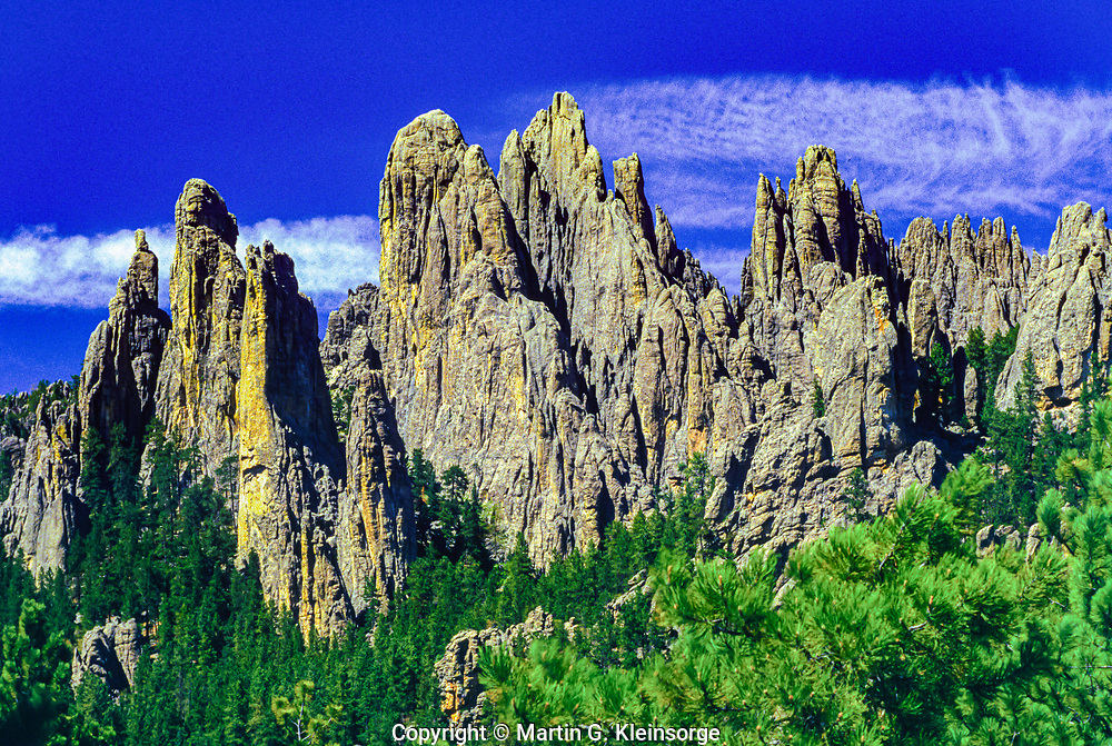 Granite rock formations of the Cathedral Spires.  Viewed from the Needles Highway.  Custer State Park, South Dakota.  USA