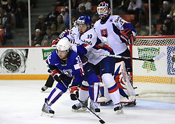 Mitja Robar of Slovenia, Tomas Starosta of Slovakia and Goalkeeper Jan Lasak of Slovakia at ice-hockey game Slovenia vs Slovakia at second game in  Relegation  Round (group G) of IIHF WC 2008 in Halifax, on May 10, 2008 in Metro Center, Halifax, Nova Scotia, Canada. Slovakia won after penalty shots 4:3.  (Photo by Vid Ponikvar / Sportal Images)